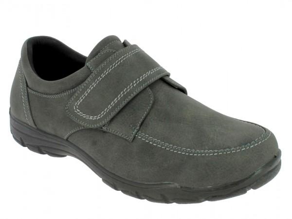 .He.-Schuh, PU-Sohle, Klettverschluss, Ziernähte, PU, dk.grau