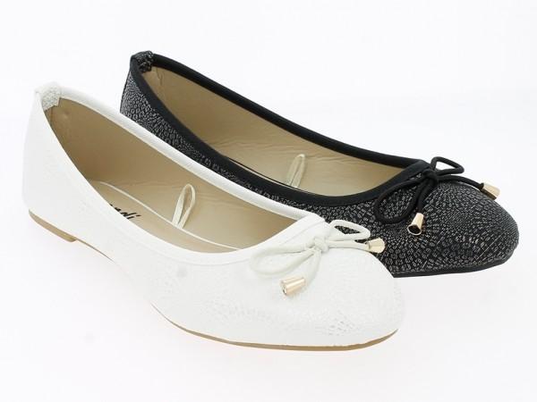 .Da.-Ballerina, TPR-Sohle, Zierschleife, PU, weiß + schwarz
