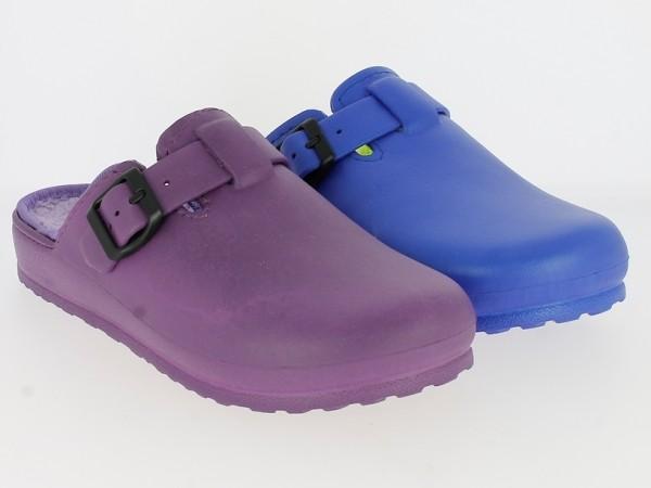 .Da.-Clog, elastisches EVA, Warmfutter, mit Schnalle, lila+ blau