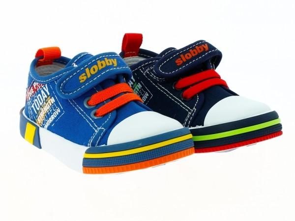 .Ki.-Freizeitschuh, PVC-Sohle, 1x Klett + Gummizug, Textil m. Aufdruck, blau-orange + navy-rot