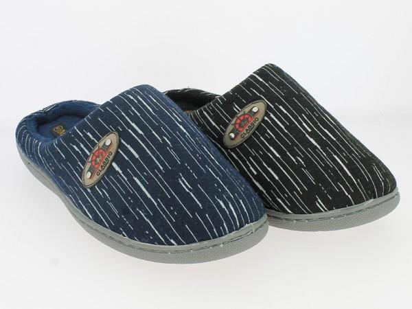 .He.-Pantoffel, TPR-Sohle, Streifenstickerei + Logo, Mikrofaserfutter, Textil, schwarz + navy