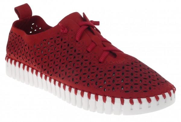 .Da.-Schuh, ultraflex. Gummisohle, Gummiband, Lochmuster, Leder-Wechselsohle, Microfaser, rot