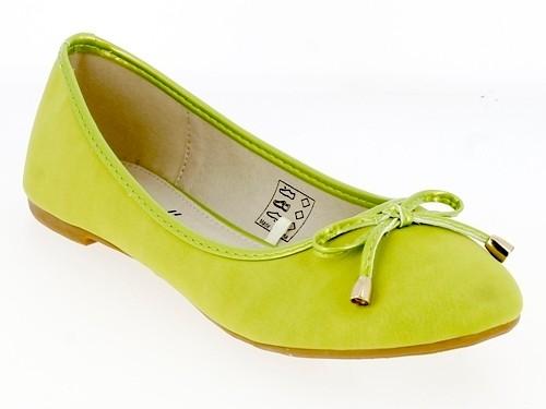 .Da.-Schuh, Slipper, Ballerina, PU, m. Schleife, TPR-Sohle, grün