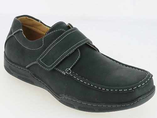 .He.-Schuh, PVC -Sohle, PU, 1 x Klettverschluß, m. Ziernähte, schwarz