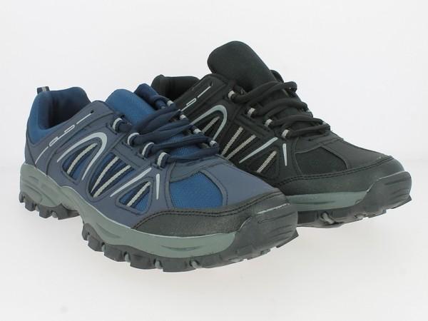 .He.-Trekkingschuh, TPR-Sohle, Schnürer, Textileinsätze, Profilsohle, PU+Mesh, schwarz + navy