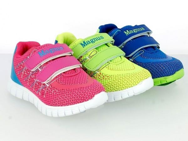 Ki.-Sportschuh, PU+Mesh, 2 x Klett, EVA-Sohle, pink + blau + neongrün