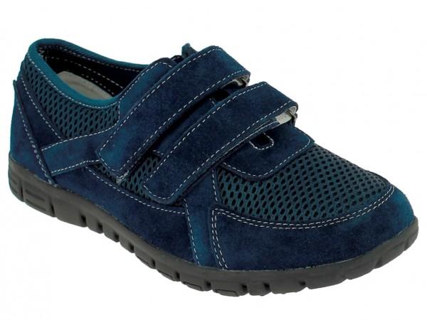 .Da.-Schuh, Leder, 2 x Klett, Lederinnensohle, Gummisohle, navy
