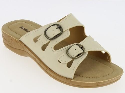 Da.-Pantolette, Tr, mit Schnalle, Synthetik, Soft Fußbett, PU-Sohle, beige