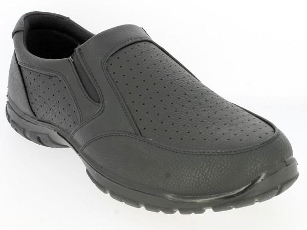 .He.-Schuh, PU, 2 x Gummizug, Ziernähte, Lochmuster, PU-Sohle, schwarz