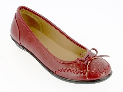 .Da.-Schuh, Slipper, PU, Zierschleife, mit Löchern, PU-Sohle, bordeaux