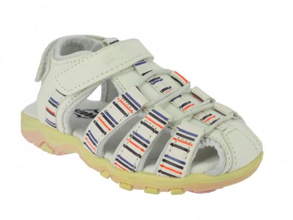 .Ki.-Sandalette, TPR-Sohle, Gummizug+Klettvers., Klettverschluss hinten, PU, weiß-pink