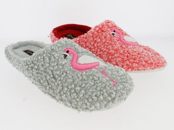 .Da.-Pantoffel, weiße TPR-Sohle, Stickerei mit Flamingo, Fleecefutter, grau + koralle