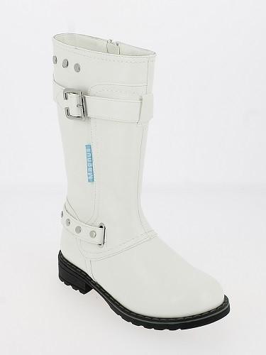 Ki.-Stiefel, PU mit Zierschnalle+Nieten, Reißverschluss, Warmfutter, TPR-Sohle, weiß+bordeaux