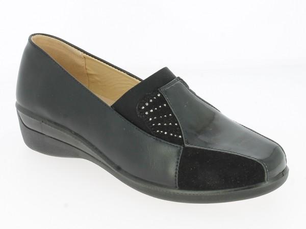 .Da.-Schuh, Slipper, PU-Sohle, breiter Gummizug, mit Ziersteinen + Lack vorn, PU, schwarz