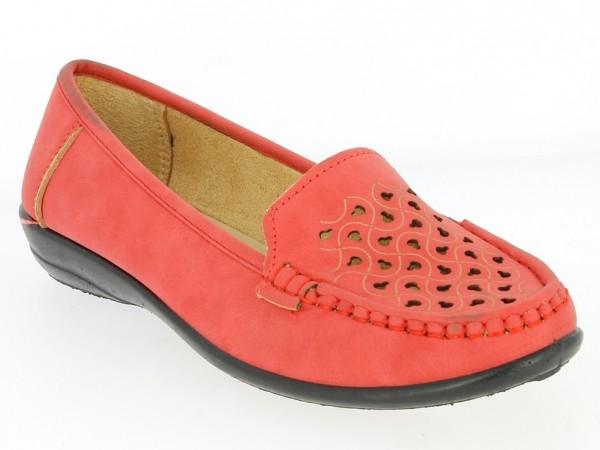 .Da.-Schuh, PVC-Sohle, Lochmuster vorn, PU, rot