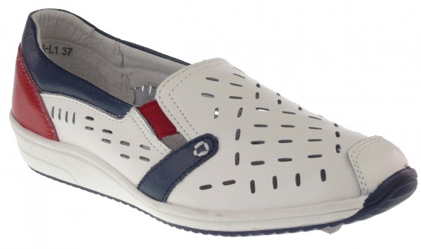 .Da.-Schuh, Slipper, Leder, mit Löcher, Lederinnenausst., TPR Sohle, m. Gummizug, weiß-blau-rot