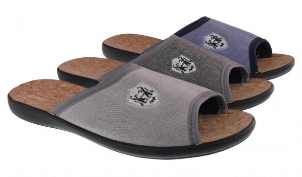 .He.-Pantoffel, PU-Sohle, mit Wappen, Textil, h.grau+d.grau+blau