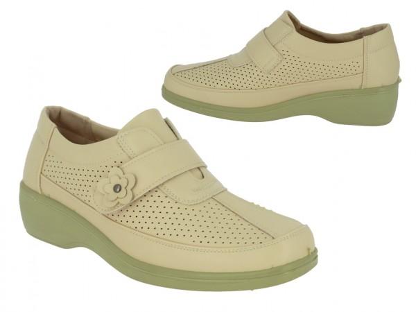 .Da.-Schuh, PU-Sohle, 1 x Klettverschl. m. Blume, Lochmuster, PU, beige