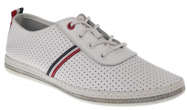 .Da.-Schuh, TPR/Gummi-Sohle, Schnürer, Lederinnens.,seitl.+hinten Streifen, m. Löchern, Leder, weiß